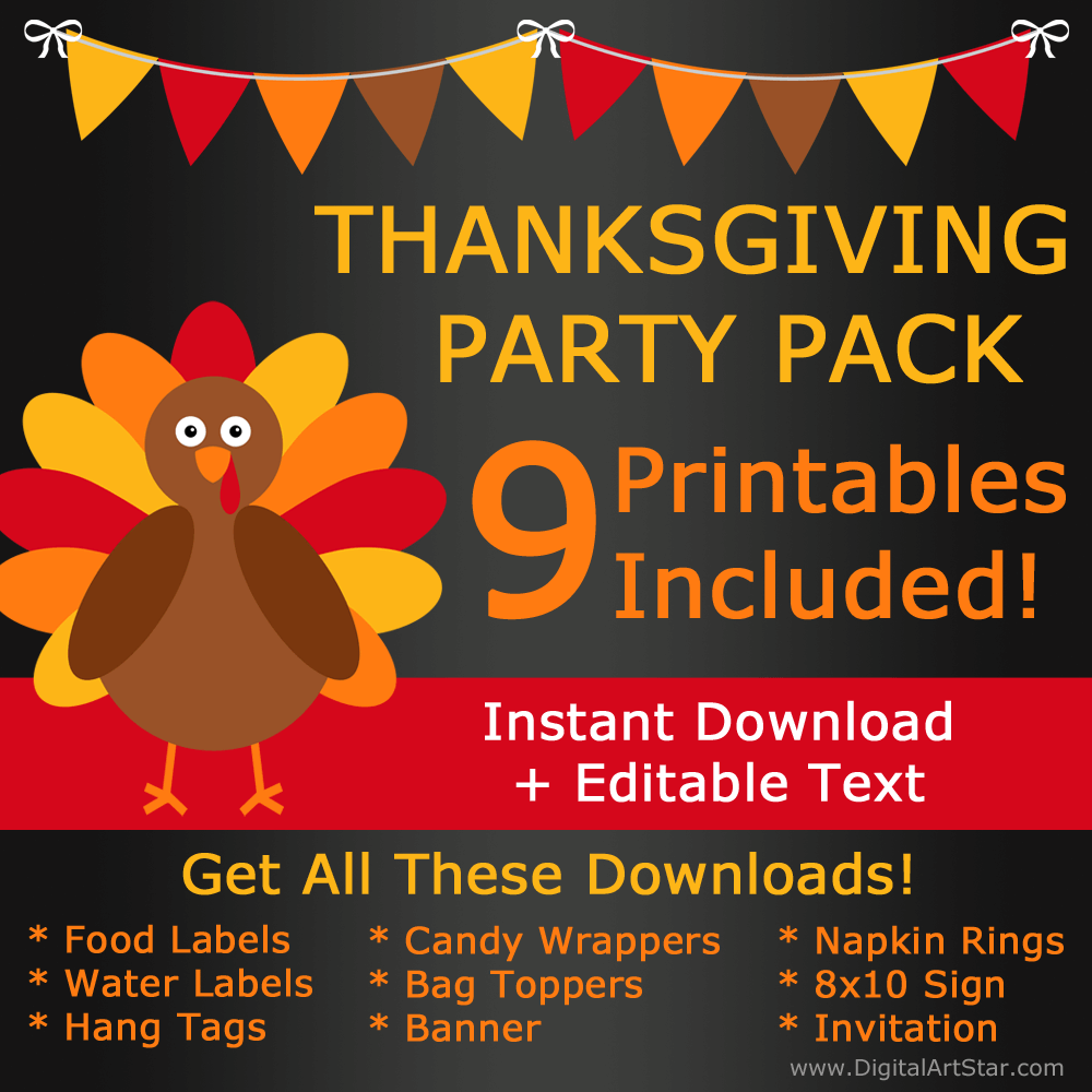 Chalkboard Thanksgiving Party Pack Bundle Deal