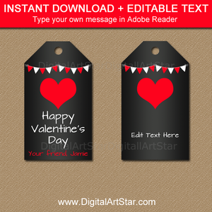 Chalkboard Valentine Tags with Editable Text