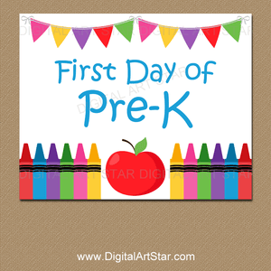 Crayon and Apple Printable Sign for First Day of Pre-K