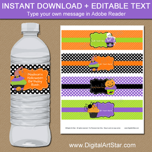 Cupcake Halloween Birthday Water Bottle Labels Template