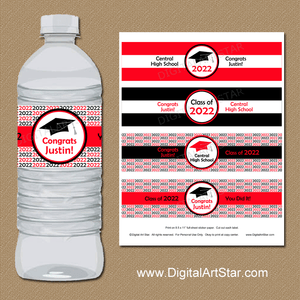 Custom Graduation Party Water Bottle Labels, Red Black White