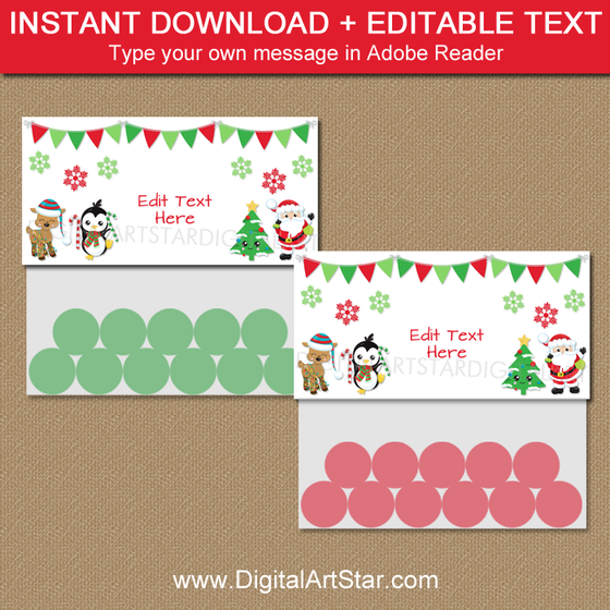 Instant Download Christmas Candy Bag Topper Template