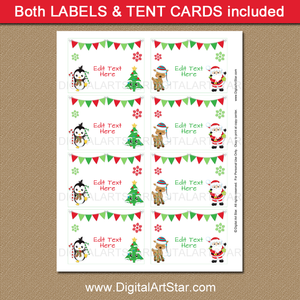 Cute Christmas Candy Buffet Labels Printable