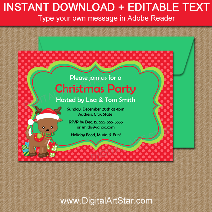 Cute Christmas Invitation with Editable Text