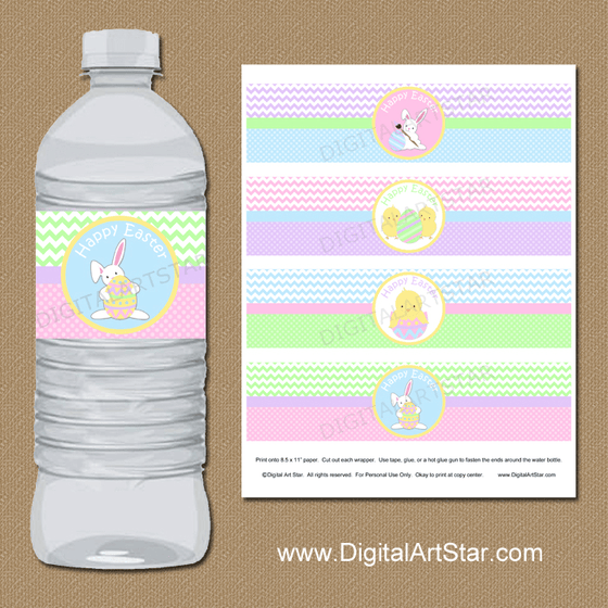 Cute Easter Water Bottle Labels Printable