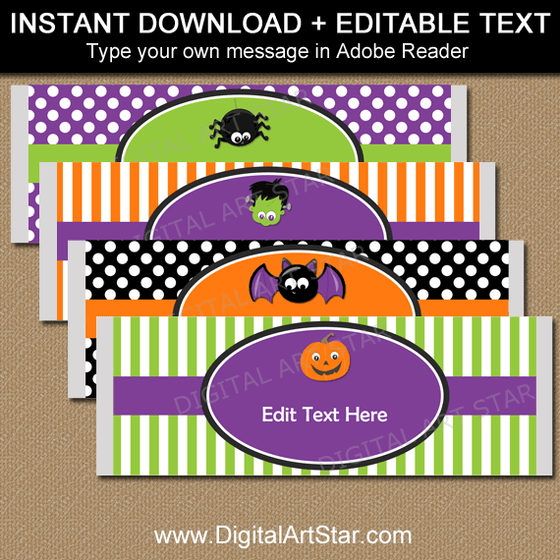 Cute Halloween Candy Bar Wrappers for Halloween Party Favors