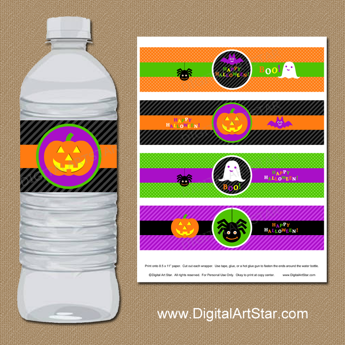 Cute Halloween Water Bottle Labels for Kids Party