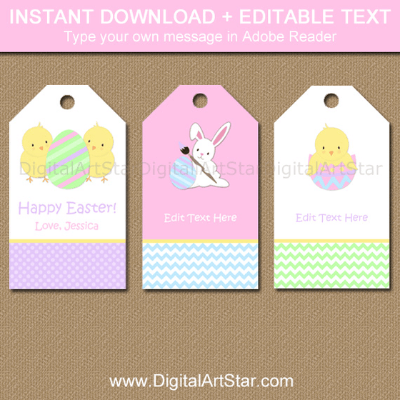 Cute Printable Easter Tags with Bunnies and Chicks