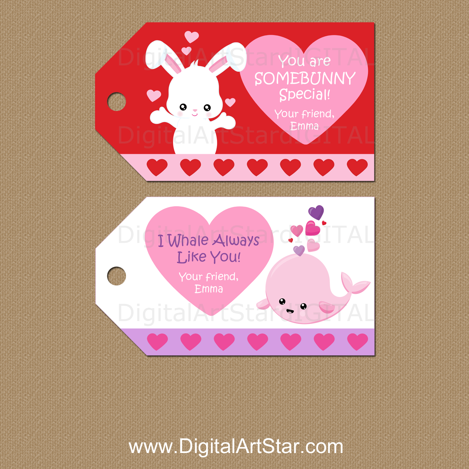 Cute Valentine Gift Tags Personalized