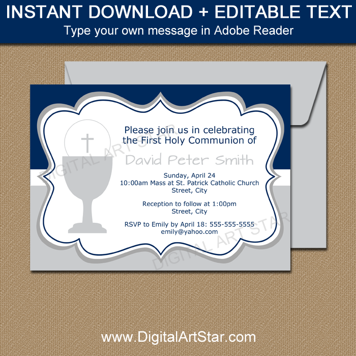 Digital First Communion Invitations