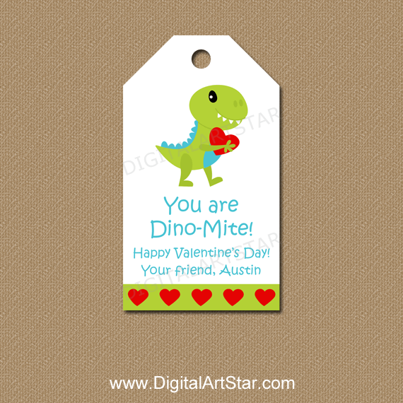 Dinosaur Valentine Hang Tags Personalized