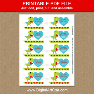 Dinosaur Valentines Day Tags to Print