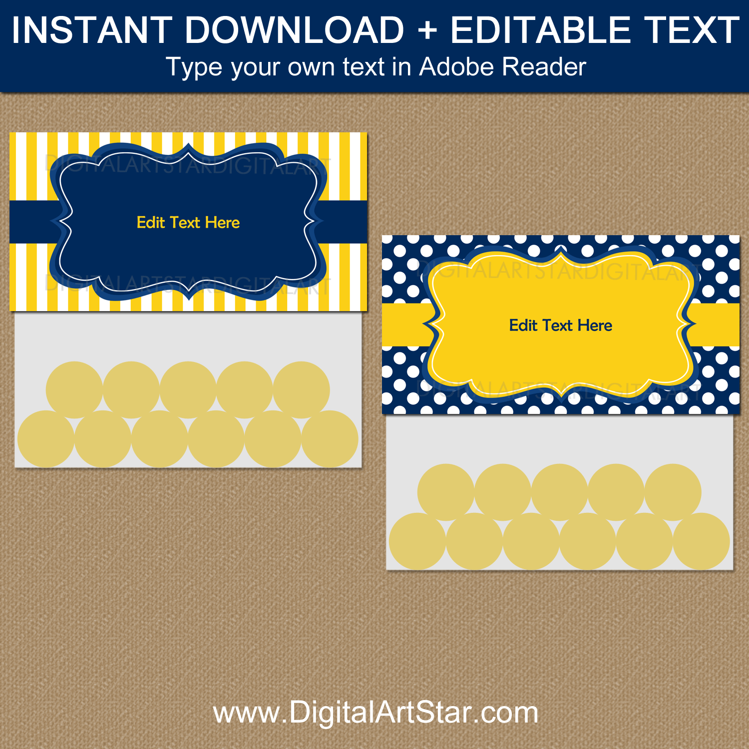 Downloadable Navy Blue and Yellow Goodie Bag Toppers Template