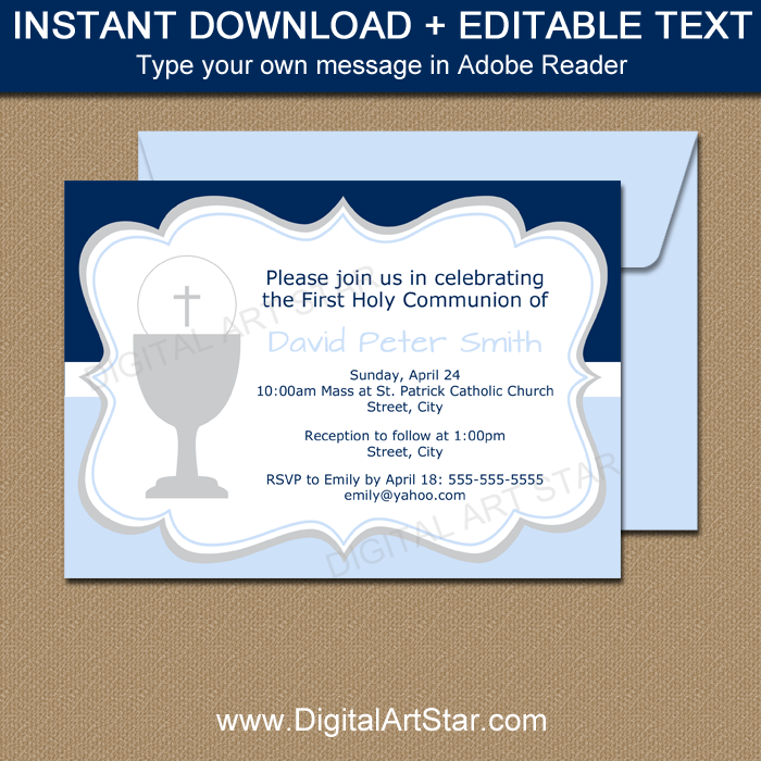 Downloadable First Communion Invitations