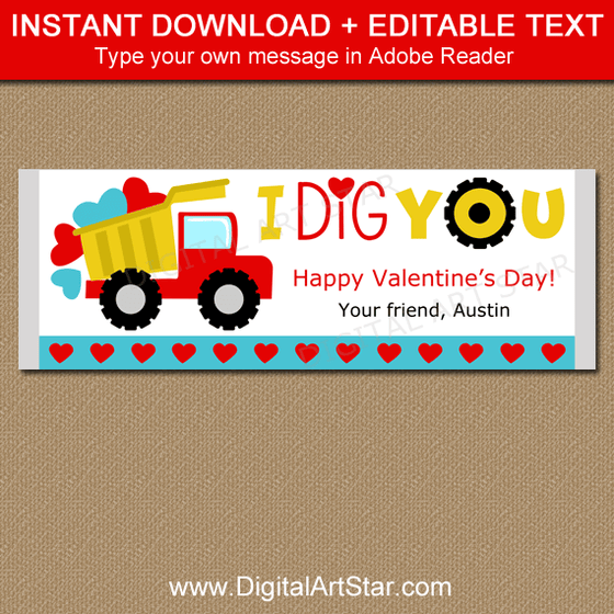 I Dig You Candy Bar Wrappers for Valentine's Day Party Favors