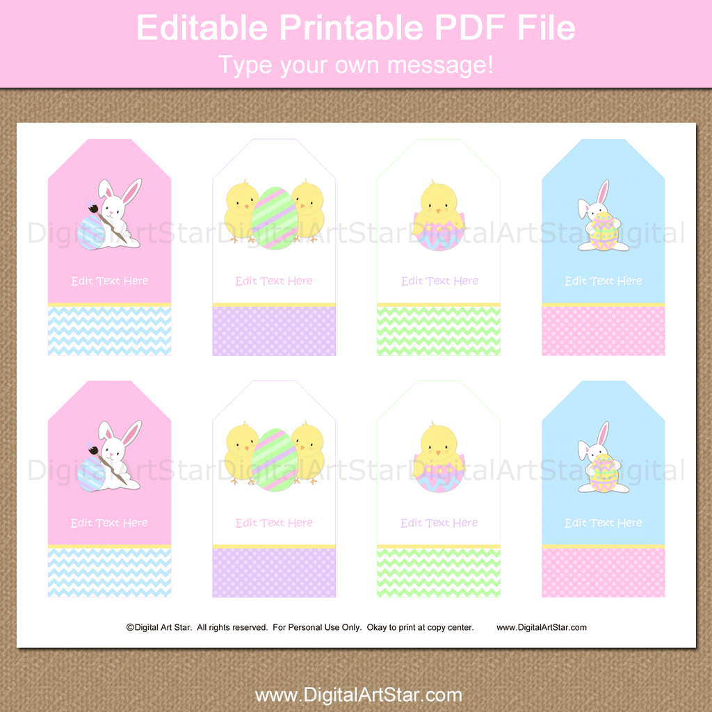 Printable Easter Thank You Tags for Party Favors