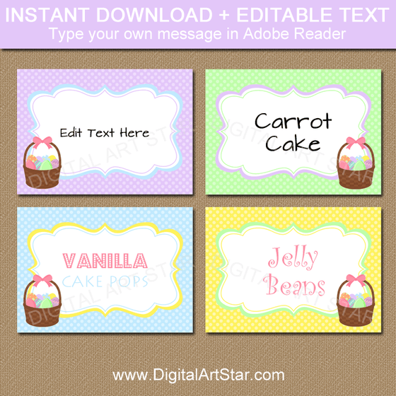 Easter Place Cards Template with Easter Basket