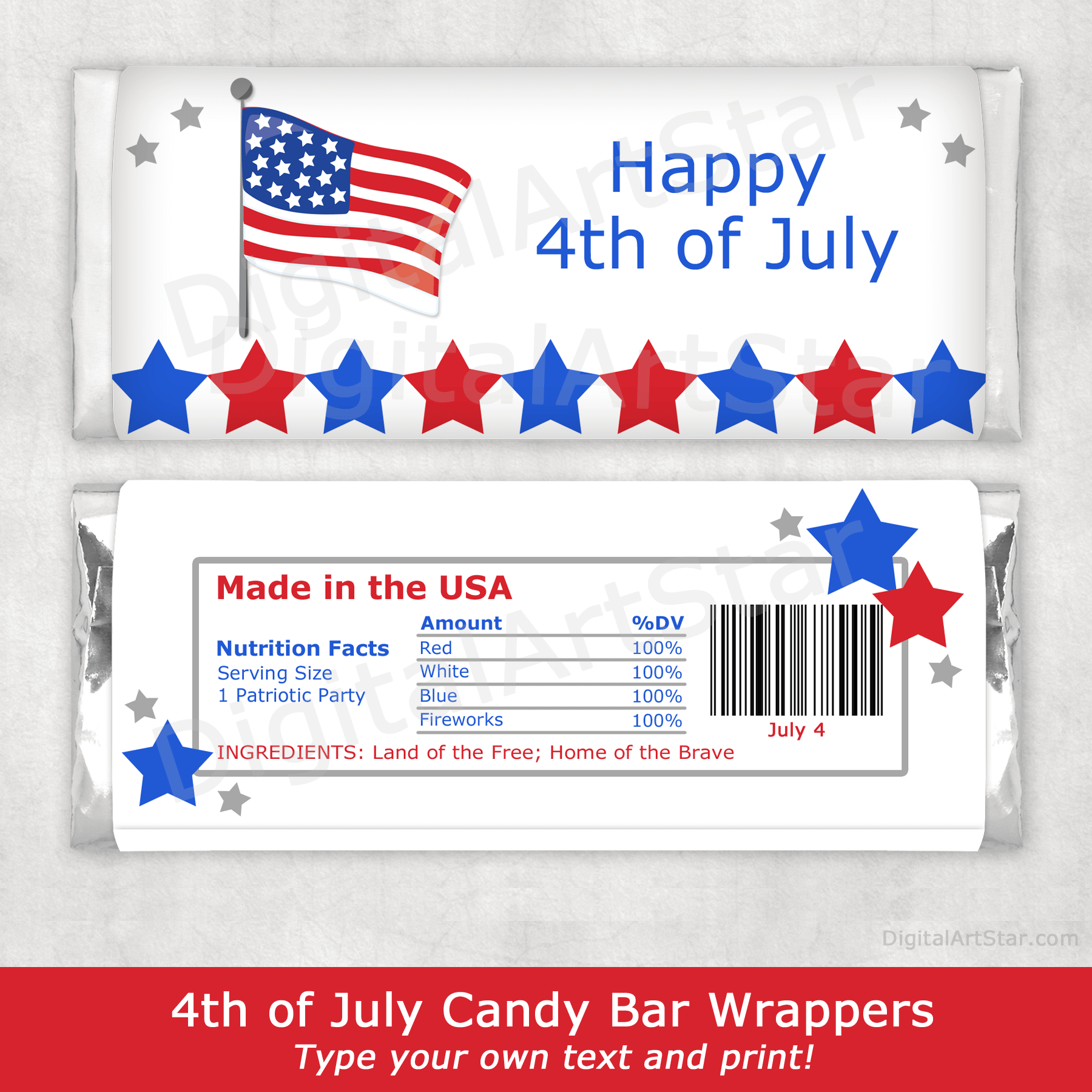 Editable 4th of July Candy Bar Wrappers Template