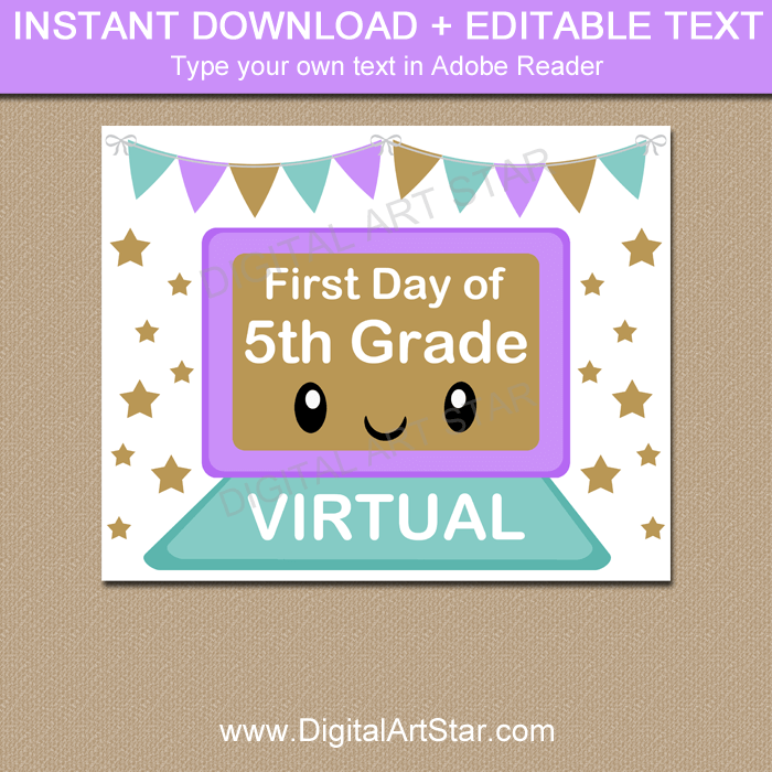 Editable First Day of Virtual 5th Grade Sign Template