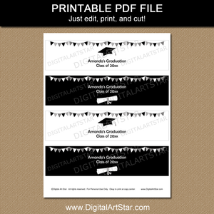 Black and White Graduation Water Bottle Labels Printable