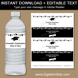 Editable Black and White Graduation Water Bottle Labels