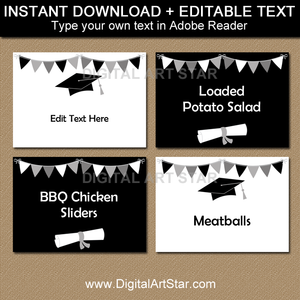 Editable Graduation Labels Black and White