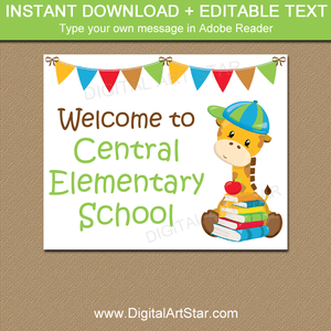 Editable Back to School Sign Printable