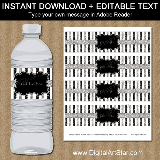 Editable Black and Silver Water Bottle Labels
