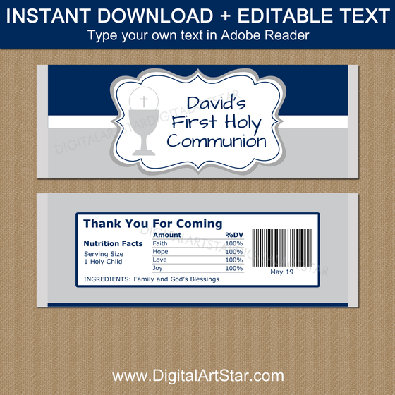 Editable First Communion Candy Bar Wrappers for Boy - Navy Gray White
