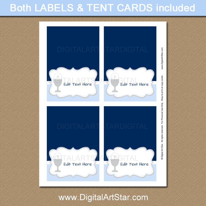Printable First Holy Communion Table Tents