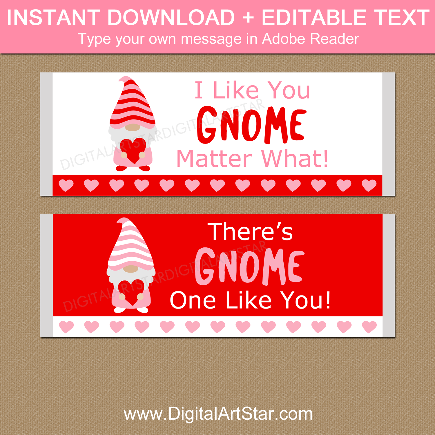 Instant Download Gnome Valentine Candy Bar Labels