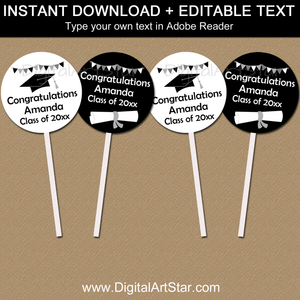 Editable Graduation Cupcake Toppers Black and White
