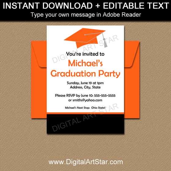 Editable Graduation Party Invitations Black White Orange