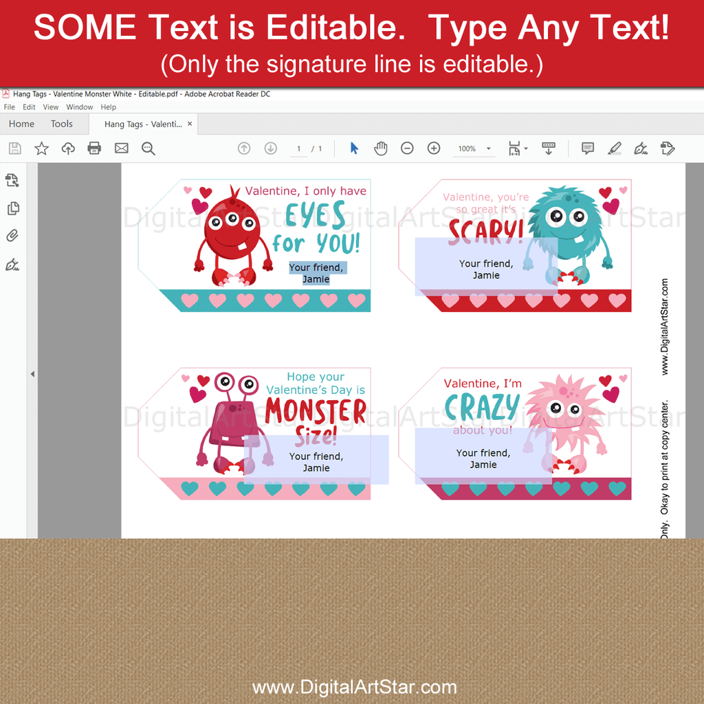 Editable Monster Valentine Hang Tag Template