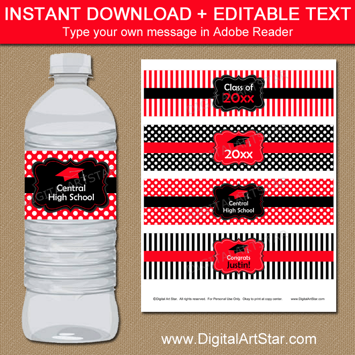 Editable Red Black White Graduation Water Bottle Labels