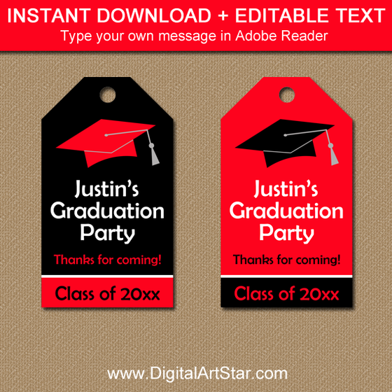 Editable Red and Black Graduation Hang Tags