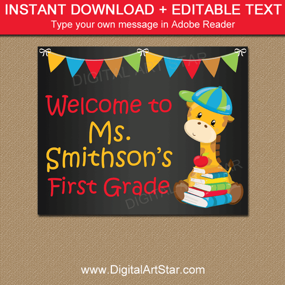 Editable Teacher Door Sign for First Day of School