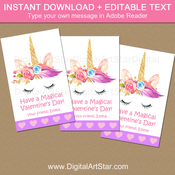Editable Unicorn Valentines Day Cards Template PDF