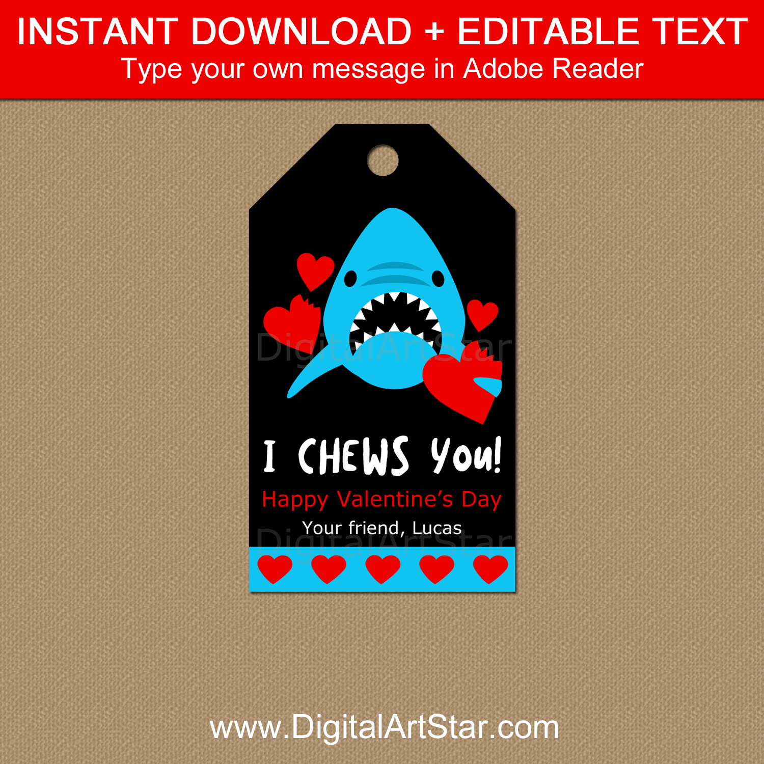 Editable Valentine Tag with Shark