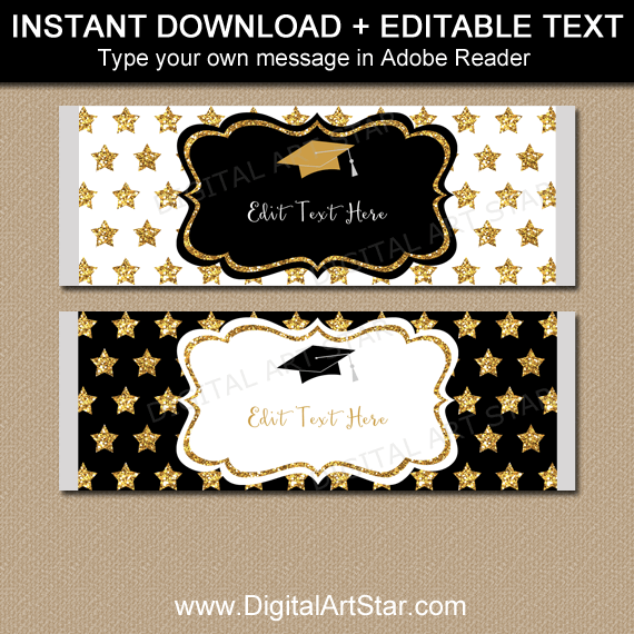 Elegant Black and Gold Graduation Candy Bar Wrappers