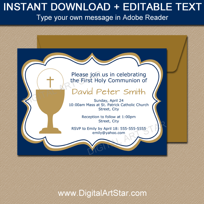 Elegant Boy First Communion Invitations in Navy and Gold