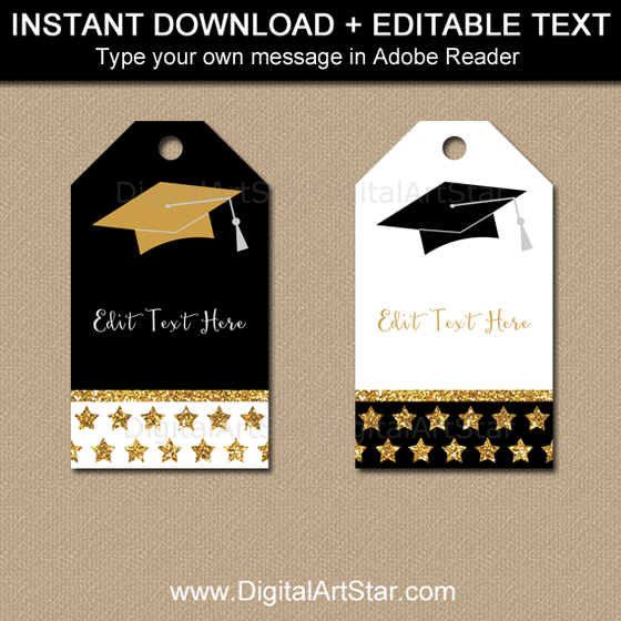 Elegant Graduation Party Favor Tags - Black Gold White