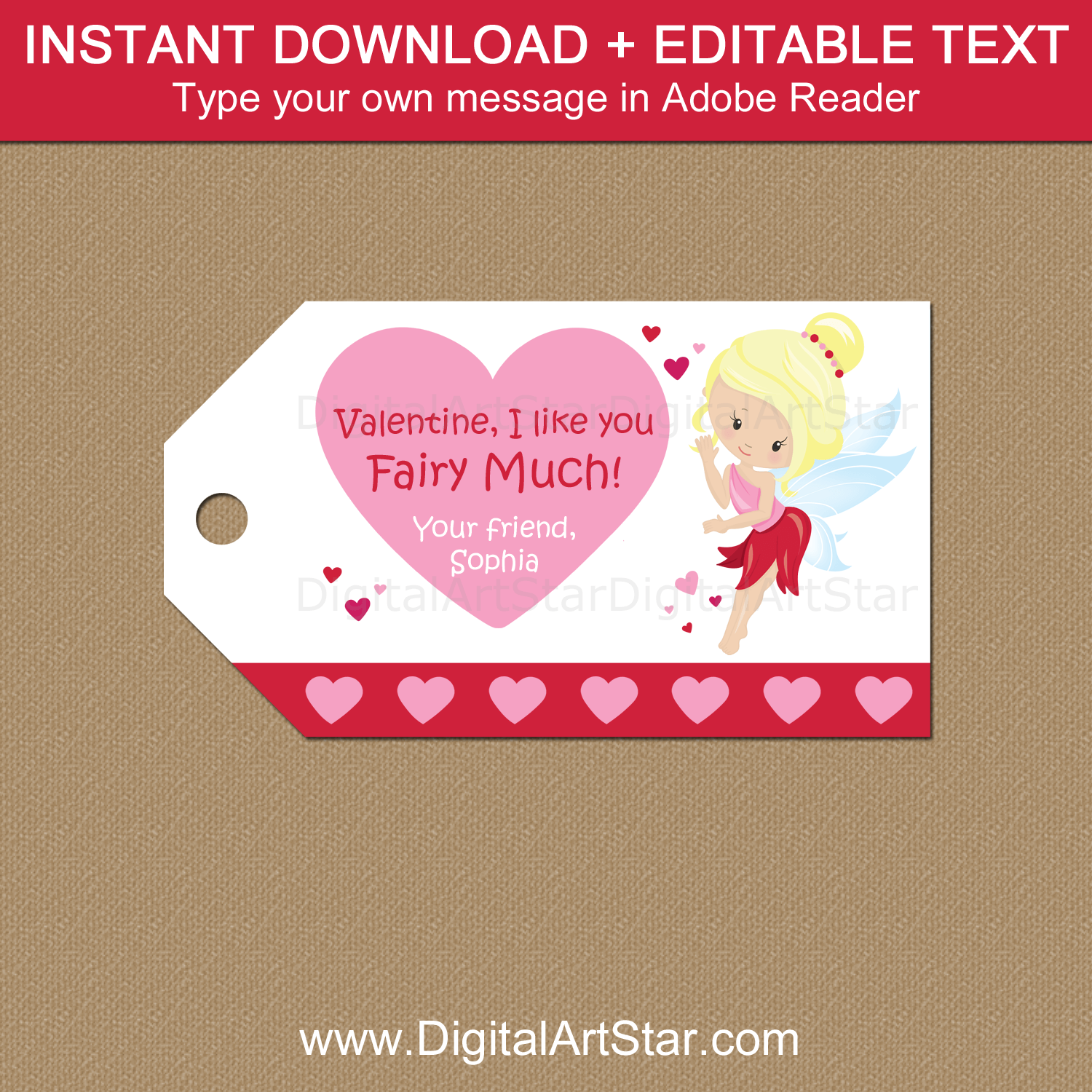 Fairy Valentine Tags Template Printable PDF Download