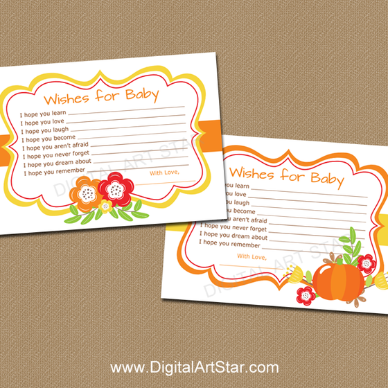 Fall Baby Shower Wishes for Baby Printable