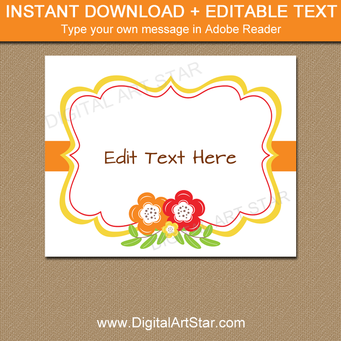 graphic about Printable Party Decorations named Slide Social gathering Decorations Printable Floral Indicator