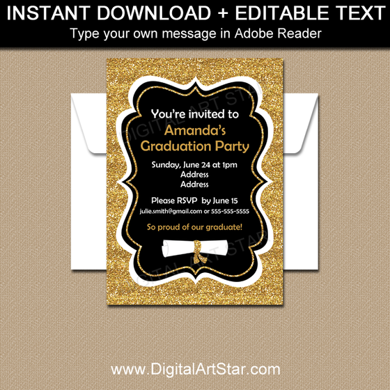 Fancy Graduation Invitations - Black and Gold Glitter