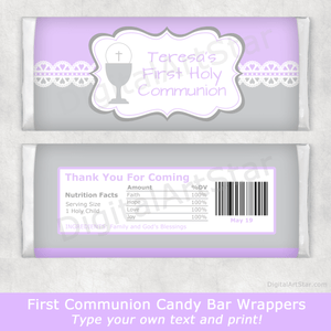 Lavender and Silver Communion Candy Bar Wrappers