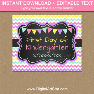 First Day of Kindergarten Sign in Pink, Purple, Mint, Yellow