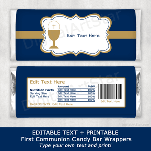First Communion Boy Candy Bar Wrappers in Navy Blue and Gold