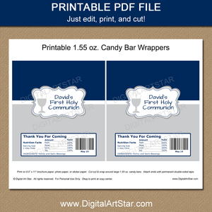 First Communion Candy Wrapper Printable